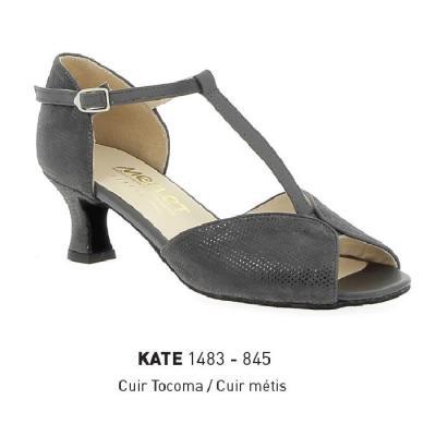 Chaussures femme Merlet Kate cuir fantaisie gris